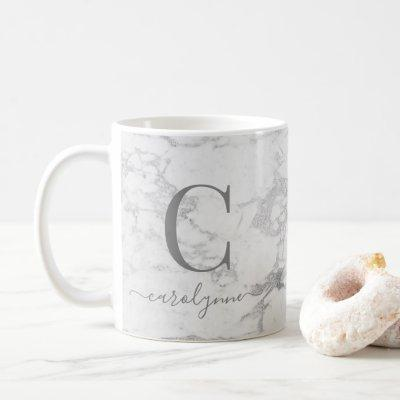Chic Trendy Silver Foil Marble Monogram Coffee Mug