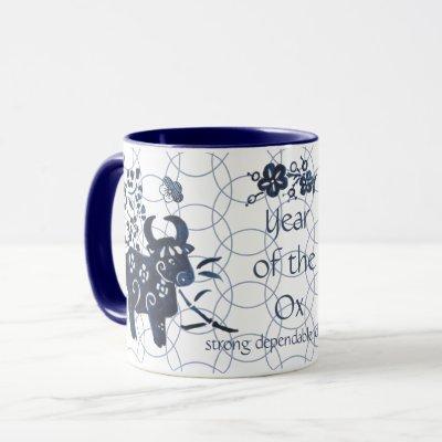 Chinese New Year of Ox Zodiac Artistic Modern Blue Mug