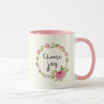 Choose Joy | Pink Pastel Roses Mug