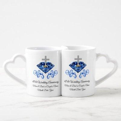 Christian 45th Anniversary Gifts for Parents Coffee Mug Set
