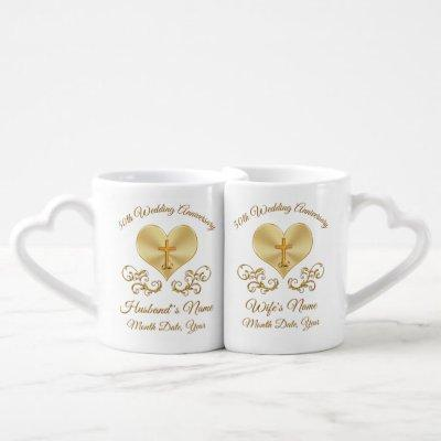Christian 50th Anniversary Gifts, Personalized Coffee Mug Set