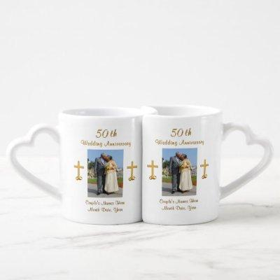 Christian 50th Wedding Anniversary Gifts, PHOTO Coffee Mug Set