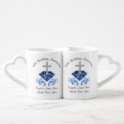 Christian Cheap 65th Wedding Anniversary Gifts Coffee Mug Set