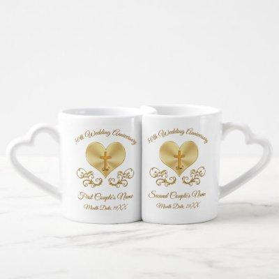 Christian Cross, Heart 50th Anniversary Presents Coffee Mug Set