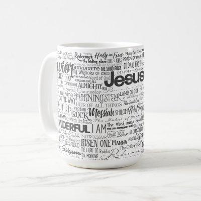Christian Religious Names of God Text Black White Coffee Mug