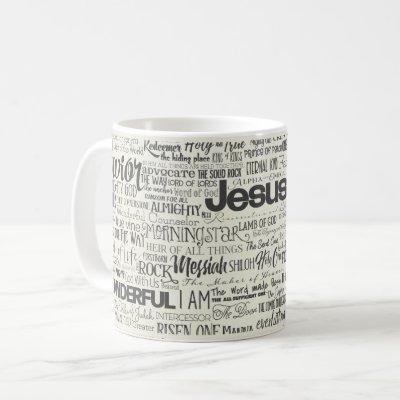 Christian Religious Names of God Text Coffee Mug