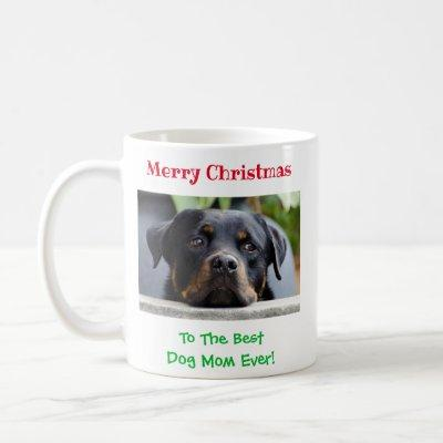Christmas Best Dog Mom Ever Pet Photo Coffee Mug