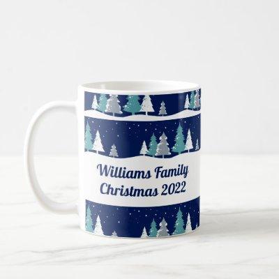 Christmas Family Reunion Beautiful Winter Monogram Coffee Mug