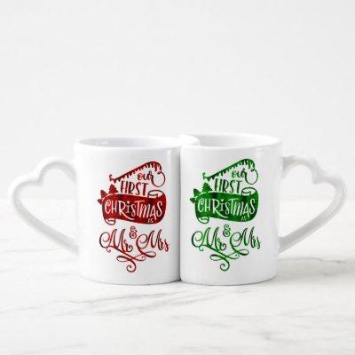 Christmas Holiday - First Xmas Mr Mrs 2 Coffee Mug Set