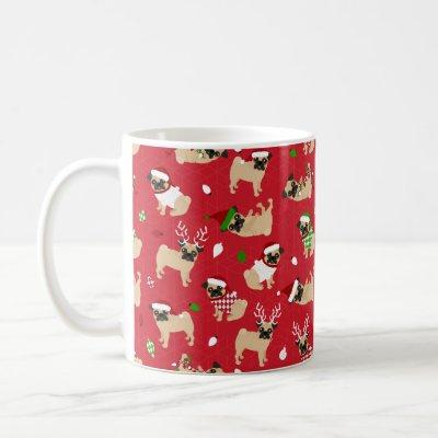 Christmas Pugs Red Coffee Mug