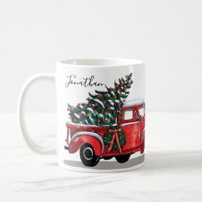 Christmas Tree Vintage Red Truck Monogram Name Coffee Mug