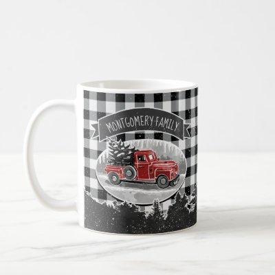 Christmas Vintage Red Truck White Buffalo Plaid Coffee Mug
