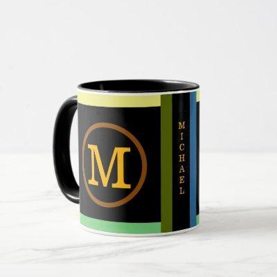 circle with name initial M, cool & modern black Mug