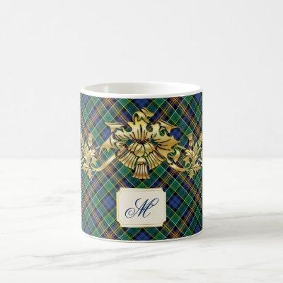 Clan Allison Tartan & Faux Gold Scottish Thistles Coffee Mug