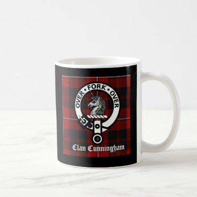 Clan Cunningham Badge & Tartan Coffee Mug