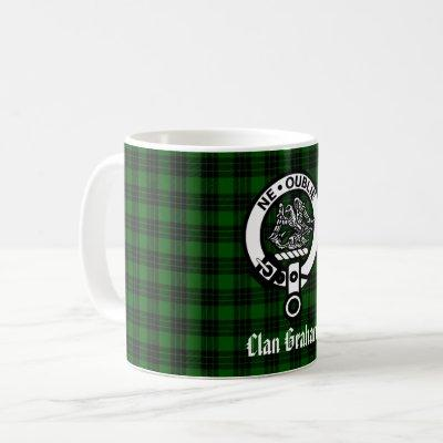 Clan Graham Crest Badge and Tartan Coffee Mug