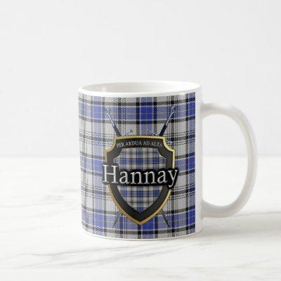 Clan Hannay Tartan Plaid Shield Crossed Swords Coffee Mug