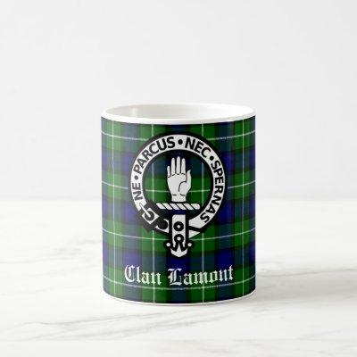 Clan Lamont Crest Badge and Tartan Coffee Mug
