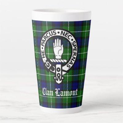 Clan Lamont Crest Badge and Tartan Latte Mug
