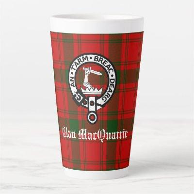 Clan MacQuarrie Tartan and Crest Latte Mug