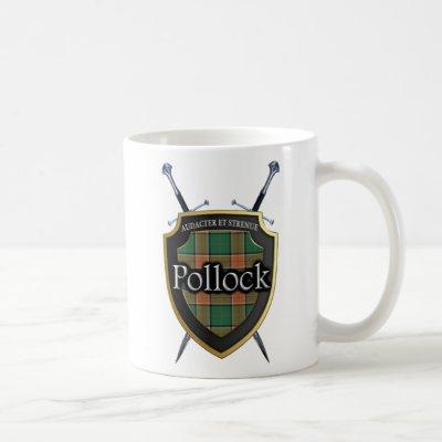 Clan Pollock Tartan Shield and Swords Coffee Mug