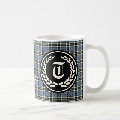 Clan Thompson Blue Dress Tartan Monogram Coffee Mug