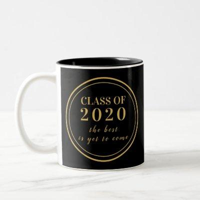 Class of 2020 Black Gold Monogram Graduation Two-Tone Coffee Mug