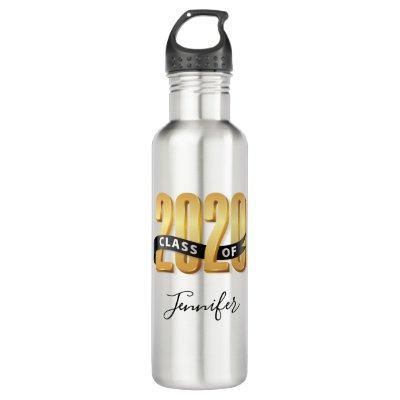 Class of 2020 Gold Black Ribbon Stainless Steel Water Bottle