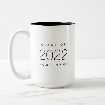 Class of 2022 Simple Modern Custom Black and White Two-Tone Coffee Mug