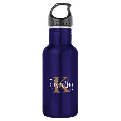 Classic Blue Gold Monogram Monogrammed Initial Water Bottle