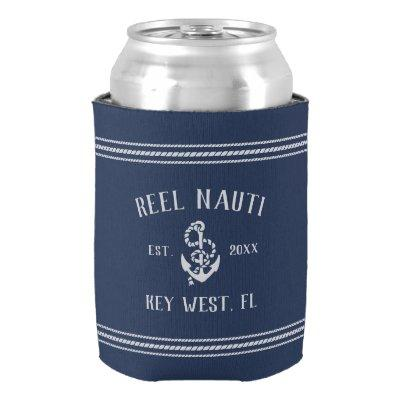 Classic Navy Rustic Anchor Personalized Boat Name Can Cooler