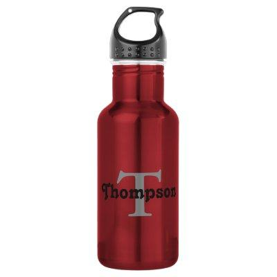 Classic Red Personalized Black Monogram Name Text Water Bottle