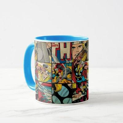 Classic Thor Comic Book Pattern Mug