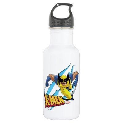 Classic X-Men   Wolverine Slash Pattern Stainless Steel Water Bottle