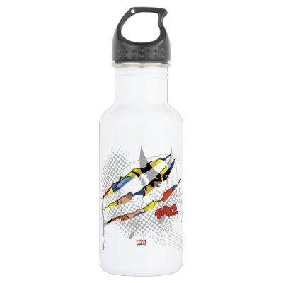Classic X-Men | Wolverine Sliced Color Graphic Stainless Steel Water Bottle