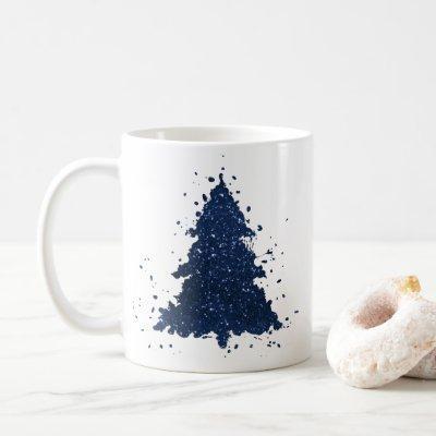 Classy Christmas Trees   Classic Navy Blue Coffee Mug