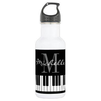 Classy grand piano keys monogram name water bottle
