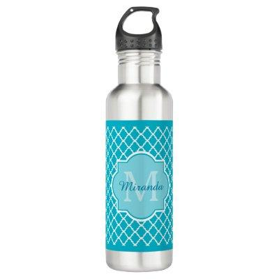 Classy Turquoise Blue Quatrefoil Monogram and Name Stainless Steel Water Bottle