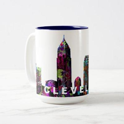 Cleveland, Ohio in graffiti Two-Tone Coffee Mug