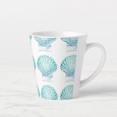 coastal chic teal blue watercolor mermaid seashell latte mug