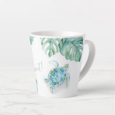 Coastal Turquoise Blue Sea Turtle Watercolor Latte Mug