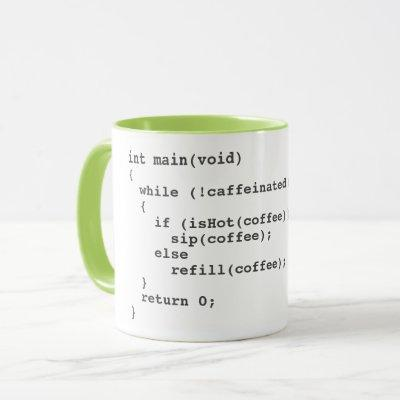 Coffee code mug for software developers