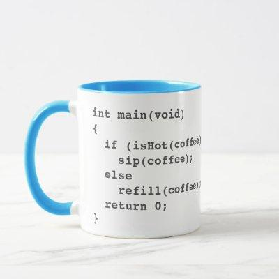 Coffee code mug for software developers with logo