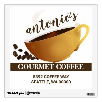Coffee Cup Coffee Beans Business Address Wall Decal
