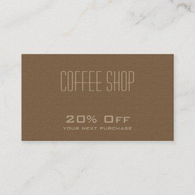 Coffee Shop  Discount Coupon Card