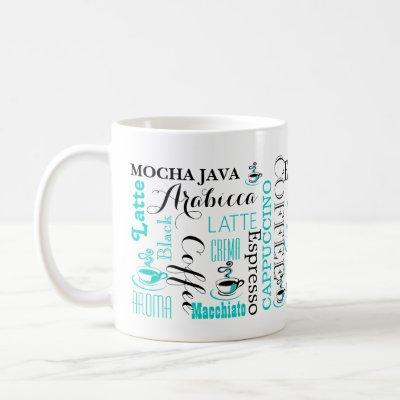 Coffee typography modern coffee mug