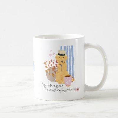 Coffee with Friend Quote Cute Labradoodle In Hat Coffee Mug