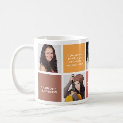 Color block brown personal quote grad custom photo coffee mug