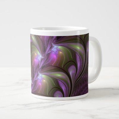 Colorful Abstract Violet Purple Khaki Fractal Art Giant Coffee Mug