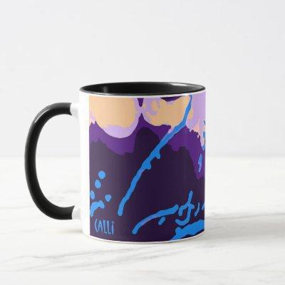 Colorful Calli Art Mug in purples and blues black